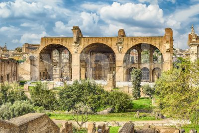 Basilica of Maxentius and Constantine, Roman Forum in Rome, Italy Stock Photo