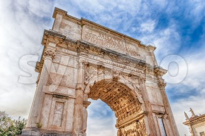 The iconic Arch of Titus in Roman Forum, Rome, Italy Stock Photo