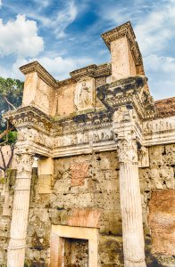 Ruins of Temple of Minerva, Forum of Nerva, Rome, Italy Stock Photo