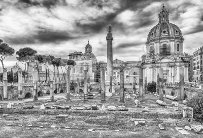 Scenic ruins of the Trajan's Forum and Column, Rome, Italy Stock Photo