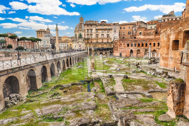 Trajan's Market, ruins in Via dei Fori Imperiali, Rome, Italy Stock Photo