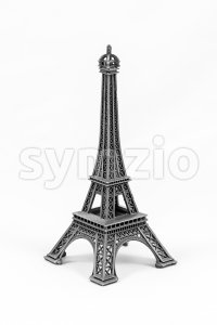 Gray Eiffel Tower model, isolated on white background Stock Photo