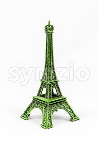 Green Eiffel Tower model, isolated on white background Stock Photo