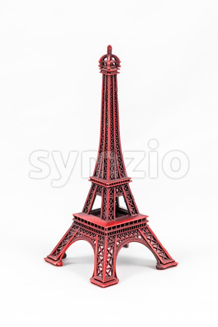 Red Eiffel Tower model, isolated on white background Stock Photo