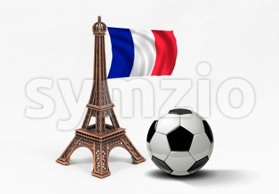 Bronze Eiffel Tower model with french flag and soccer ball Stock Photo