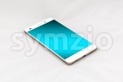 Modern smartphone with blank blue screen, isolated on white background Stock Photo
