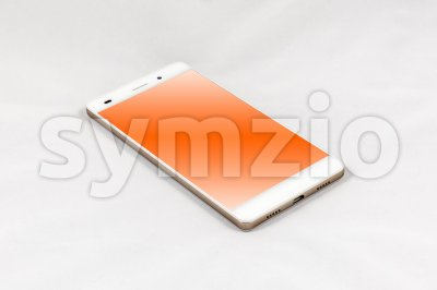 Modern smartphone with blank orange screen, isolated on white background Stock Photo