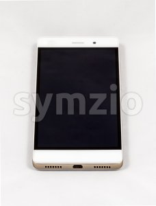 Modern smartphone with blank black screen, isolated on white background Stock Photo