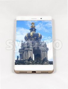 Modern smartphone displaying full screen picture of Dresden, Germany Stock Photo