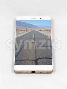 Modern smartphone displaying full screen picture of Death Valley, USA Stock Photo