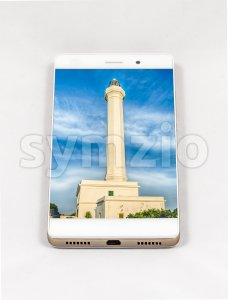 Modern smartphone displaying full screen picture of Leuca, Italy Stock Photo