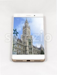 Modern smartphone displaying full screen picture of Munich, Germany Stock Photo