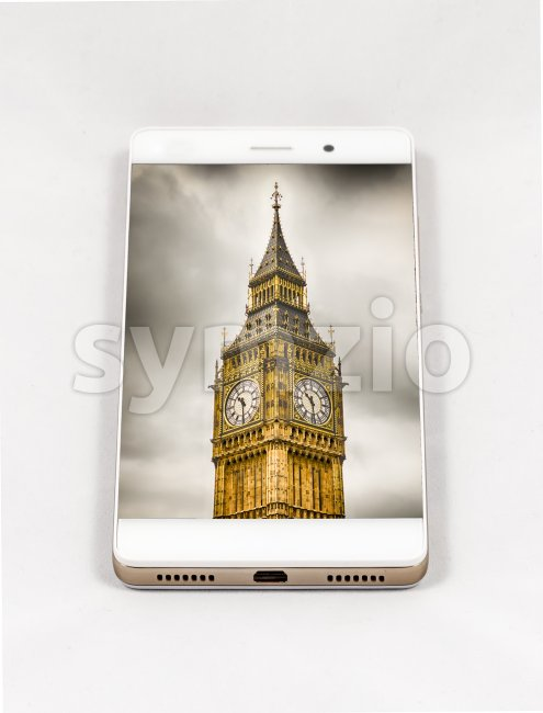 Modern smartphone displaying full screen picture of London, UK Stock Photo