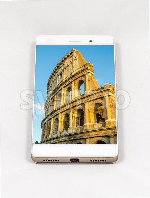 Modern smartphone displaying full screen picture of Rome, Italy Stock Photo