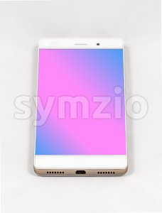 Modern smartphone with blank purple screen, isolated on white background Stock Photo