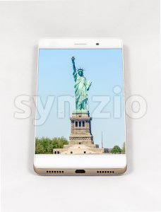 Modern smartphone displaying full screen picture of New York, USA Stock Photo