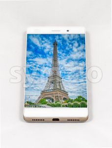 Modern smartphone displaying full screen picture of Paris, France Stock Photo