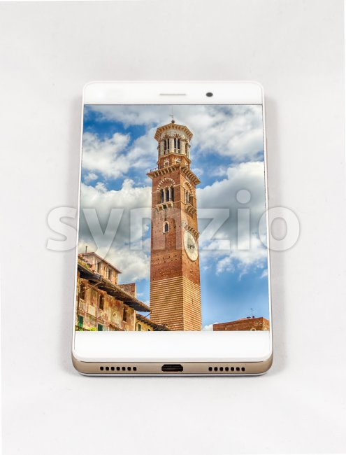 Modern smartphone displaying full screen picture of Verona, Italy Stock Photo