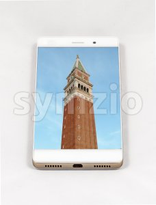 Modern smartphone displaying full screen picture of Venice, Italy Stock Photo