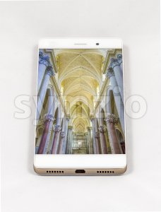 Modern smartphone displaying full screen picture of a Cathedral, Italy Stock Photo
