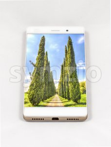 Modern smartphone displaying full screen picture of cypresses, Italy Stock Photo