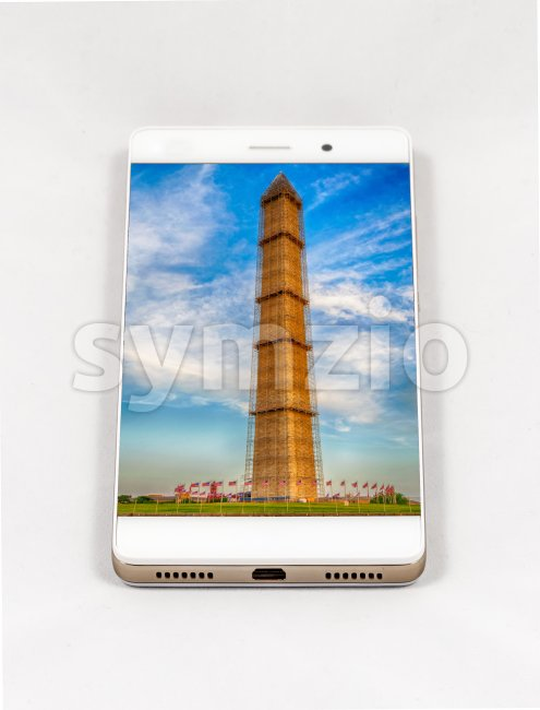 Modern smartphone displaying full screen picture of Washington DC, USA Stock Photo