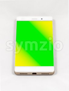 Modern smartphone with blank green screen, isolated on white background Stock Photo