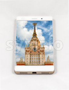 Modern smartphone displaying full screen picture of Moscow, Russia Stock Photo