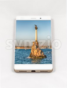Modern smartphone displaying picture of Sevastopol, Crimea Stock Photo