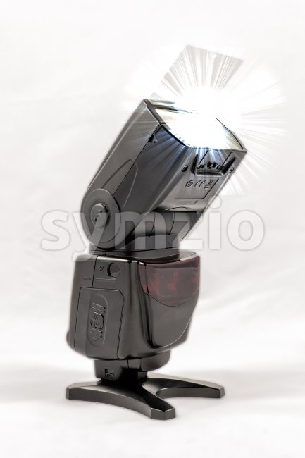 Unbranded external flash unit for DSLR camera Stock Photo