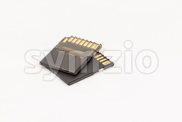Black unbranded memory SD cards Stock Photo