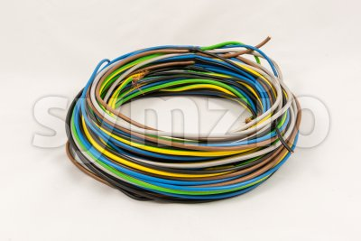 Roll of multicolored electric cables Stock Photo