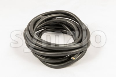 Roll of black electric cable Stock Photo