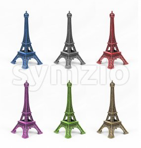 Six multicolored Eiffel Tower models, isolated on white background Stock Photo