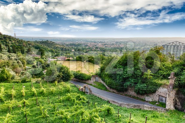 Aerial view of the countryside in Tivoli, Italy Stock Photo