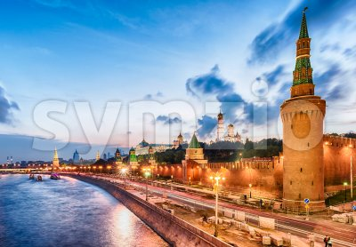 Scenic view over the Kremlin and Moskva River, Moscow, Russia Stock Photo