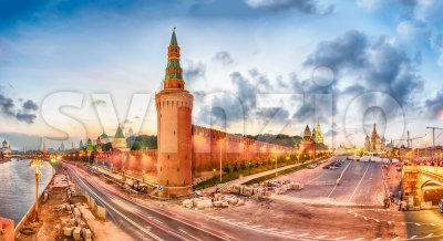 Panoramic view of Red Square and Moskva River, Moscow, Russia Stock Photo