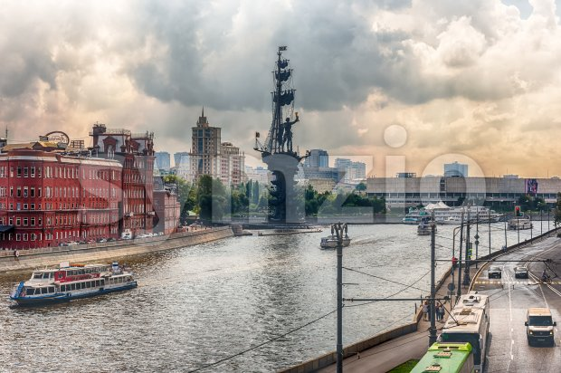 View over Moskva River, Moscow, Russia Stock Photo