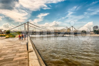View over Moskva River and Krymsky Bridge, Moscow, Russia Stock Photo