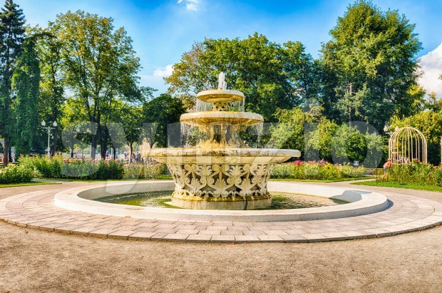 Scenic fountain inside Gorky Park, Moscow, Russia Stock Photo