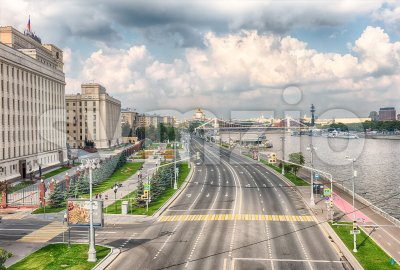 Aerial view over Moskva River from Pushkinsky Bridge, Moscow, Russia Stock Photo