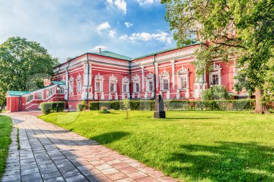Architecture inside Novodevichy convent, iconic landmark in Moscow, Russia Stock Photo
