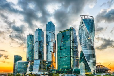 Scenic view of the Moscow City International Business Center, Russia Stock Photo