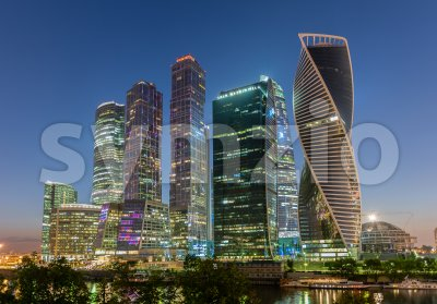 Scenic night view of Moscow City International Business Center, Russia Stock Photo