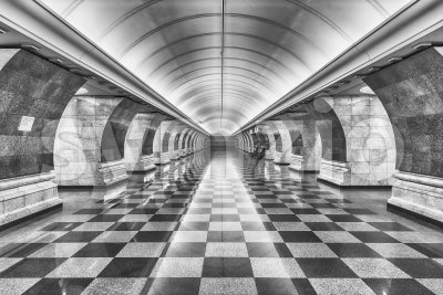 Interior of Park Pobedy subway station in Moscow, Russia Stock Photo