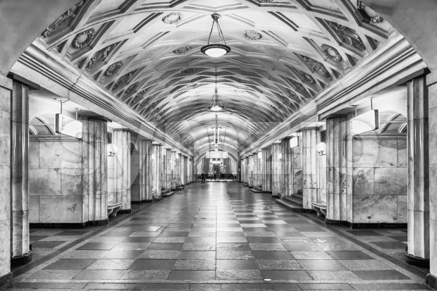 Interior of Teatralnaya subway station in Moscow, Russia Stock Photo