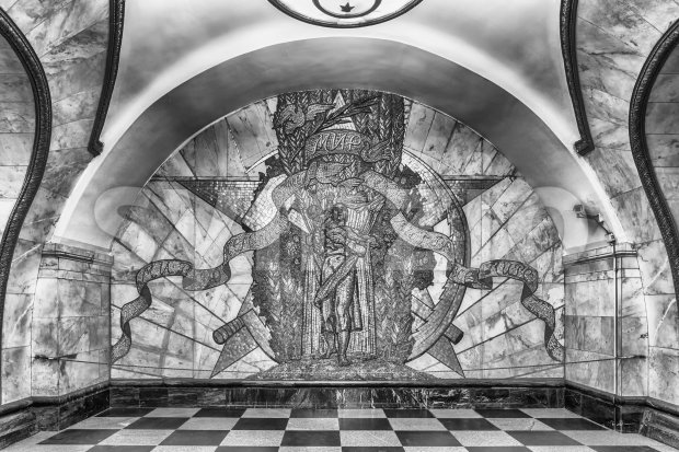 Mosaic art inside Novoslobodskaya subway station in Moscow, Russia Stock Photo
