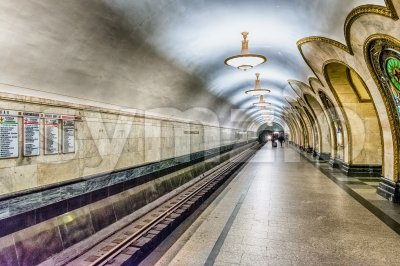 Interior of Novoslobodskaya subway station in Moscow, Russia Stock Photo