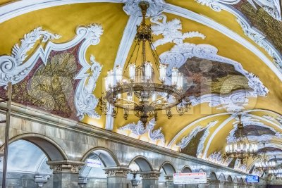 Interior of Komsomolskaya subway station in Moscow, Russia Stock Photo