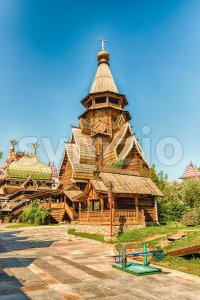 Wooden church inside the complex Izmailovskiy Kremlin in Moscow, Russia Stock Photo